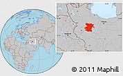 Gray Location Map of Hamadan