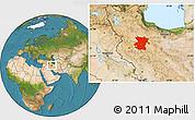Satellite Location Map of Hamadan
