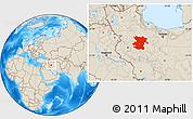 Shaded Relief Location Map of Hamadan