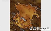 Physical Map of Hamadan, darken