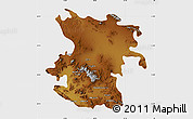Physical Map of Hamadan, single color outside