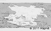 Gray Panoramic Map of Hamadan