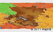Physical Panoramic Map of Hamadan, political outside