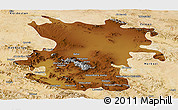 Physical Panoramic Map of Hamadan, satellite outside