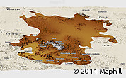 Physical Panoramic Map of Hamadan, shaded relief outside