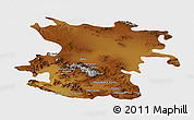 Physical Panoramic Map of Hamadan, single color outside