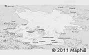 Silver Style Panoramic Map of Hamadan