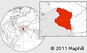 Blank Location Map of Horasan, highlighted country