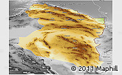 Physical Panoramic Map of Horasan, desaturated