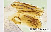 Physical Panoramic Map of Horasan, lighten