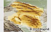 Physical Panoramic Map of Horasan, semi-desaturated
