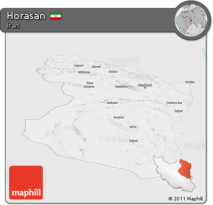 Silver Style Panoramic Map of Horasan, single color outside