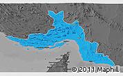 Political 3D Map of Hormozgan, darken, desaturated