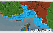 Political 3D Map of Hormozgan, darken