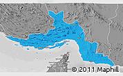 Political 3D Map of Hormozgan, desaturated