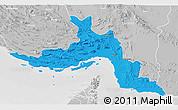 Political 3D Map of Hormozgan, lighten, desaturated