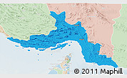 Political 3D Map of Hormozgan, lighten