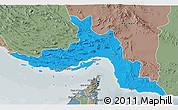 Political 3D Map of Hormozgan, semi-desaturated