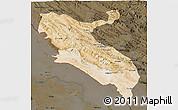 Satellite 3D Map of Ilam, darken