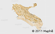Satellite 3D Map of Ilam, single color outside