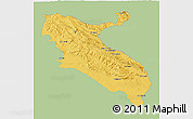 Savanna Style 3D Map of Ilam, single color outside