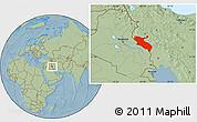 Savanna Style Location Map of Ilam, hill shading