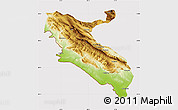 Physical Map of Ilam, cropped outside