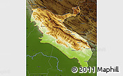 Physical Map of Ilam, darken