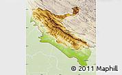 Physical Map of Ilam, lighten