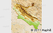 Physical Map of Ilam, satellite outside