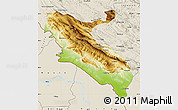 Physical Map of Ilam, shaded relief outside