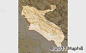 Satellite Map of Ilam, darken