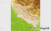 Satellite Map of Ilam, physical outside