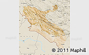 Satellite Map of Ilam, shaded relief outside