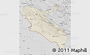 Shaded Relief Map of Ilam, desaturated