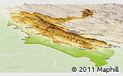 Physical Panoramic Map of Ilam, lighten