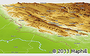 Physical Panoramic Map of Ilam