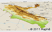Physical Panoramic Map of Ilam, shaded relief outside