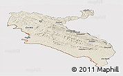 Shaded Relief Panoramic Map of Ilam, cropped outside