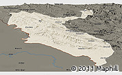 Shaded Relief Panoramic Map of Ilam, darken