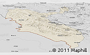 Shaded Relief Panoramic Map of Ilam, desaturated
