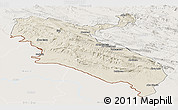 Shaded Relief Panoramic Map of Ilam, lighten