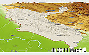 Shaded Relief Panoramic Map of Ilam, physical outside