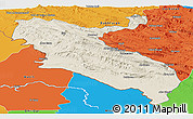 Shaded Relief Panoramic Map of Ilam, political outside