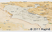 Shaded Relief Panoramic Map of Ilam, satellite outside