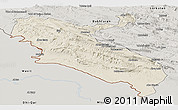 Shaded Relief Panoramic Map of Ilam, semi-desaturated