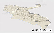 Shaded Relief Panoramic Map of Ilam, single color outside