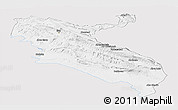 Silver Style Panoramic Map of Ilam, single color outside