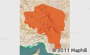 Political 3D Map of Kerman, satellite outside
