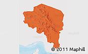 Political 3D Map of Kerman, single color outside